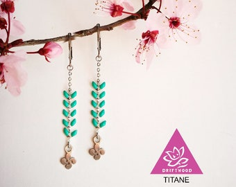 ear of corn turquoise earrings/red & cross basque lauburu with chain attachment to choose titanium