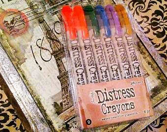 Tim Holtz Distress Crayons by Ranger  ~Set 9~ 6 ct. Crayon Set