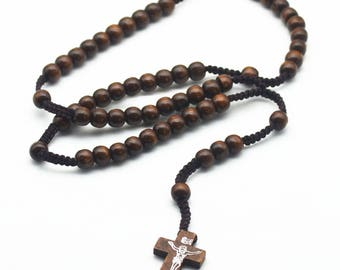 Classic Beads Wooden&Ribbon Knitted Beads Necklace Pray Necklace rosary religious beads jewelry necklace Jesus jewelry gifts