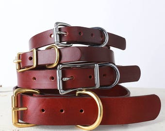 Brown Leather Dog Collar -- Classic Belt Buckle Style