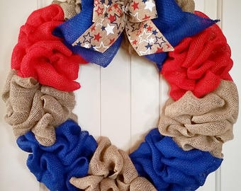 Red, White, and Blue Burlap Wreath.  Independence Day Burlap Wreath.  4th of July Burlap Wreath.  Patriotic Decor.  Door Wreath.