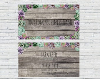 personalized succulent business card design, network business cards, direct sales business card, unique business cards, small business card