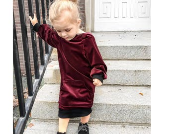 Hoodie dress - deep red black pinstripes for babies toddlers and kids