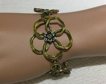 Pilgrim  Green Crystal Rhinestone Flowers Bracelet Danish Design