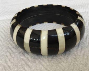Wooden And Horn Striped Bangle Bracelet