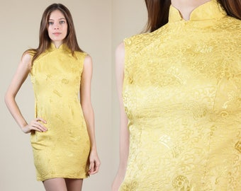 7ef67b3e 60s Gold Cheongsam Dress // Vintage Floral Embossed Brocade Chinese Qipao  Mini - XS/