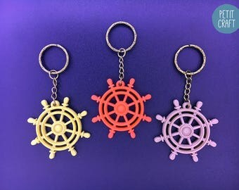 Ship's Wheel & Helm: 3D Printed Keyrings