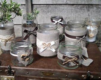 8 Rustic Vintage Wedding Lights Handmade Glass Linnen Jars Tea Light Candle Holders Decor Glass Linnen Jars barn wedding table decorations