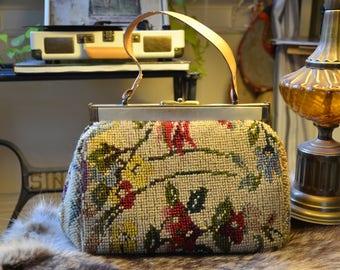 Vintage Rose Tapestry Purse, 60s Petit Point Rose Carpet Handbag