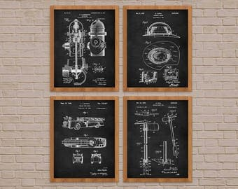 Fireman Gift, Firefighting Patent Print Set Of 4, Fireman art, firefighter, fireman patent, fireman decor, Set Of Four Prints, Blueprint art
