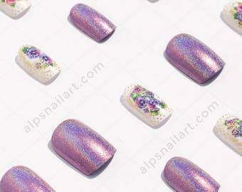 Press On Nails -2 in 1 combo-Holographic nails with Accent nails- Glue On nails - Faux Nails - Artificial nails-Free International Shipping