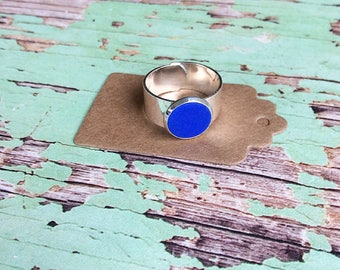 Blue bezel ring, silver adjustable ring, polymer clay ring, statement ring, minimalist jewellery made by Wickedsisterstudio