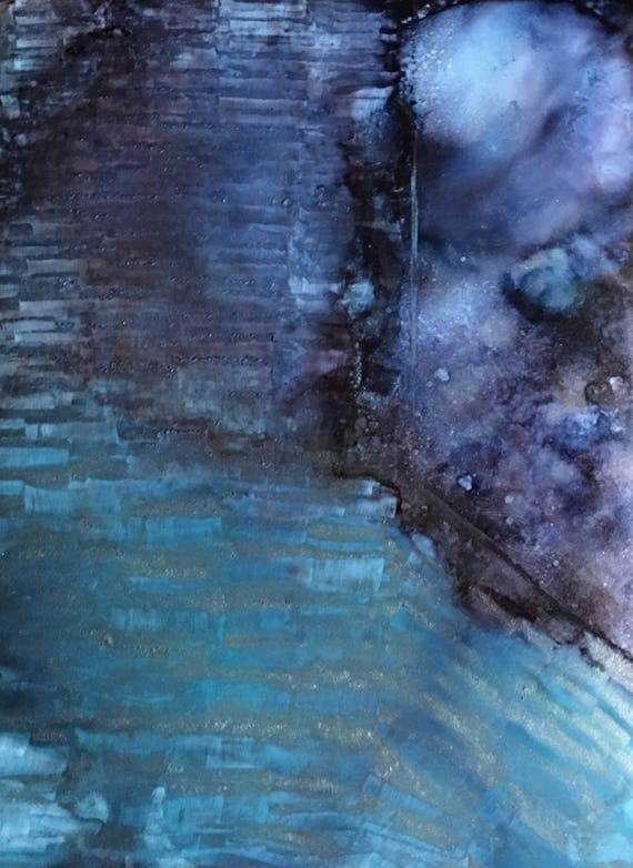 """Original Alcohol Ink (Mixed Media) Abstract Painting: """"Misty Blue"""" (11"""" X 14"""")"""