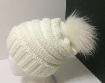White Real Fur Beanie, White Fur Pom Pom, with Removable Large Real Genuine Fox fur Pom pom.