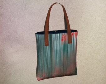Deluxe Urban Tote Bag with Zippered Pocket and Magnetic Closure, Shoulder Bag, Carryall, Handbag, Red & Teal, Autumn Forest Digital Art