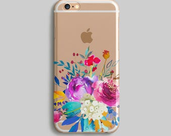 Floral Phone Case, Watercolor iPhone 5S Case, iPhone 7 Cover Flowers, Cute Phone Case, Clear iPhone 6 Case, Paints Silicone iPhone Case