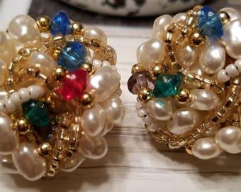 Vintage Rice Pearl Cluster Clip-On Earrings
