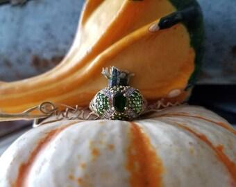 Estate 14k Peridot and Diamond Fashion Ring.