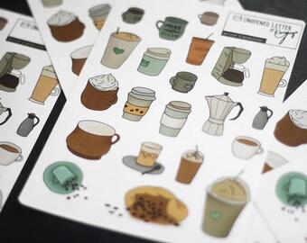 Diary sticker Set, coffee addict-Decorative stationery planner/scrapbooking Stickers
