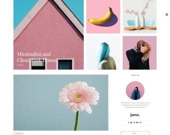WordPress Theme Responsive - Beauty Wordpress Premade Theme - Girl Theme - Minimalist Wordpress - Jane Wordpress Blog Template - ECommerce