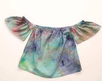 Ladies Off The Shoulder Crop Top - Ruffle Sleeve - Beach - Festival - Ready To Ship - Tie Dyed - 100% Cotton - FREE SHIPPING within AUS
