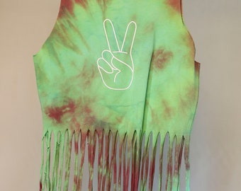 Children's Size 3 - Peace Sign Fringe Singlet - Ice Tie Dye - Ready To Ship - 100% Cotton - FREE SHIPPING within AUS