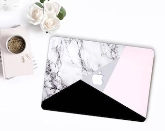 Black & Silver Marble Tangram MacBook Snap Case, MacBook Protection, MacBook Pro 2016 Touch Bar Case, MacBook Pro Retina Hard Case