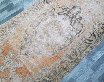 4.5x9.5 Muted Colors,Antique Oushak Rug,Vintage Turkish Rug,Vintage Anatolian Rug,Distressed rug,Turkish Area Rug,Kitchen Rug,LivingRoom Rug