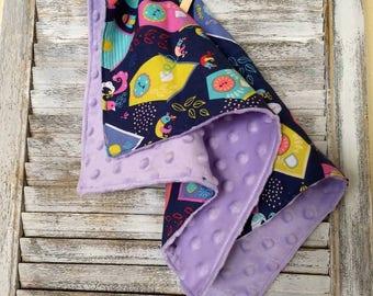 Lovey Blanket, birdhouse, birds, baby shower gift, Blanket, Baby gift, baby lovey blanket, carseat blanket, stroller blanket, toy blanket