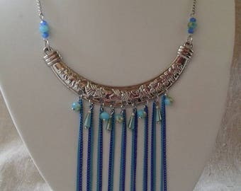 "necklace ""blue beads and chains wedding"""