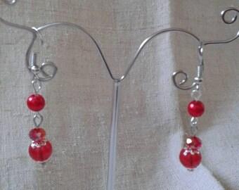 """""""three red Pearl"""" earrings"""