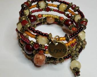 Memory Wire Boho beaded bracelet