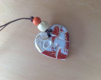 Heart shaped micro mosaic necklace, handmade
