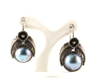 Vintage Gray Pearl Drop Dangle Earrings 925 Sterling ER 309