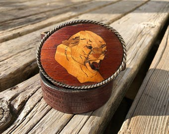 IVAN Leather Wooden Leopard Vintage Belt