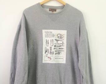 Rare Vintage VICTORINOX Sweatshirt Large Size Army Swiss History Outdoor