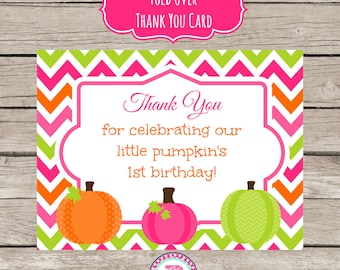 INSTANT Pumpkin Patch Girl Thank You Cards 1st Birthday Party Chevron Pink Orange Green Fall Harvest Farm Fold Over Our Little Pumpkin
