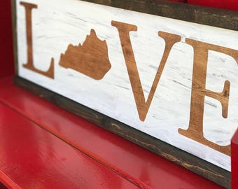"""State """"Love"""" / Wood Sign"""