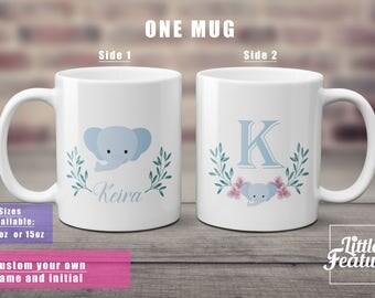 elephant gift, gift for elephant lover, custom name mug, initial mug, wreath mug, gift for her,elephant