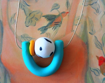 Handmade Polymer Clay Necklace -  Belize Collection - Squiggle U