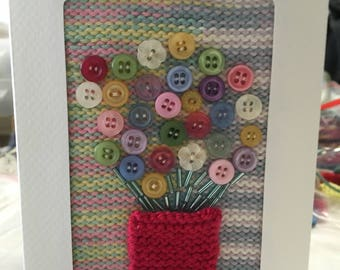 Bunch of Button Flowers - Greeting Card