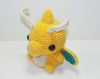 Dragonite Pokemon Crochet Amugurumi Plush Handmade