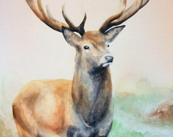 The Stag watercolour in Giclee fine art print,home,gift,present -A3 & A4