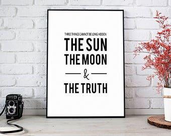 The Sun The Moon The Truth, Motivational Art,Buddha,Wall Decor,Trending,Art Prints,Instant Download,Printable Art,Wall Art