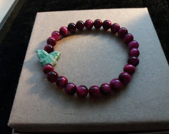 Natural Rose Pink Tiger Eye and Natural Snowflake Jade Butterfly Beaded Bracelet