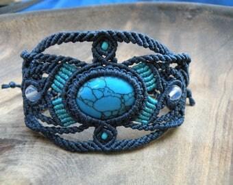 Turquoise macrame bracelet, opalite bracelet, macrame stone, micro macrame jewelry, tribal bracelet, bohemian desing, hippie stone bracelet