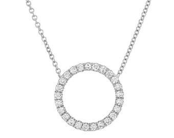 Open Circle Diamond Necklace, 0.37 Diamond Circle Necklace, Real Natural Diamond, Open Circle Diamond Pendant