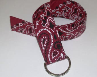 Bandana D-ring Belt made with actual Bandanas. Burgundy. Small.