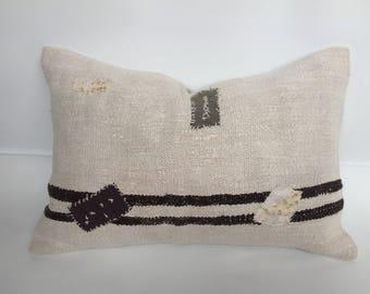 "Turkish kilim pillow,kilim cushion,hemp pillow,  patchwork hemp pillow, ,16""x24""inch pillows,handmade pillow, home decor,boho pillow"