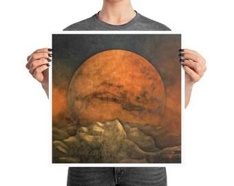 Mars Horizon Space Poster, 12x12, 16x16, 18x18, Martian Decor, Surreal Aries Print